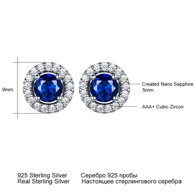 UMCHO Real 925 Sterling Silver Jewelry Round Rich Color Nano Sapphire Stud Earrings Gemstone Luxury Bride Gift For Women