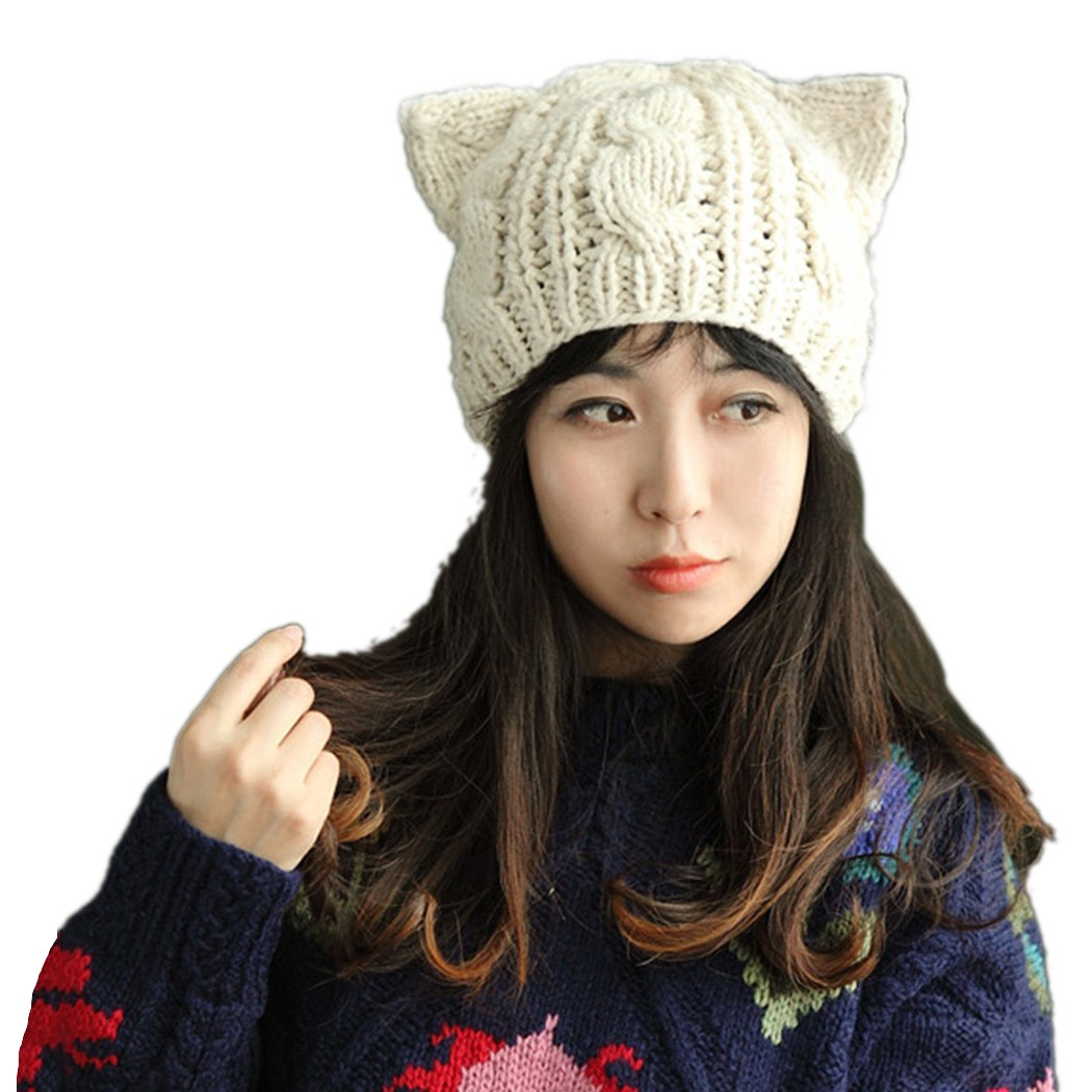 Fashion Korean Women lady horns Cat Ear Crochet Braided Knit Ski Beanie Wool Hat Cap winter warm beret ex 159 cat nylon combat application tourniquet