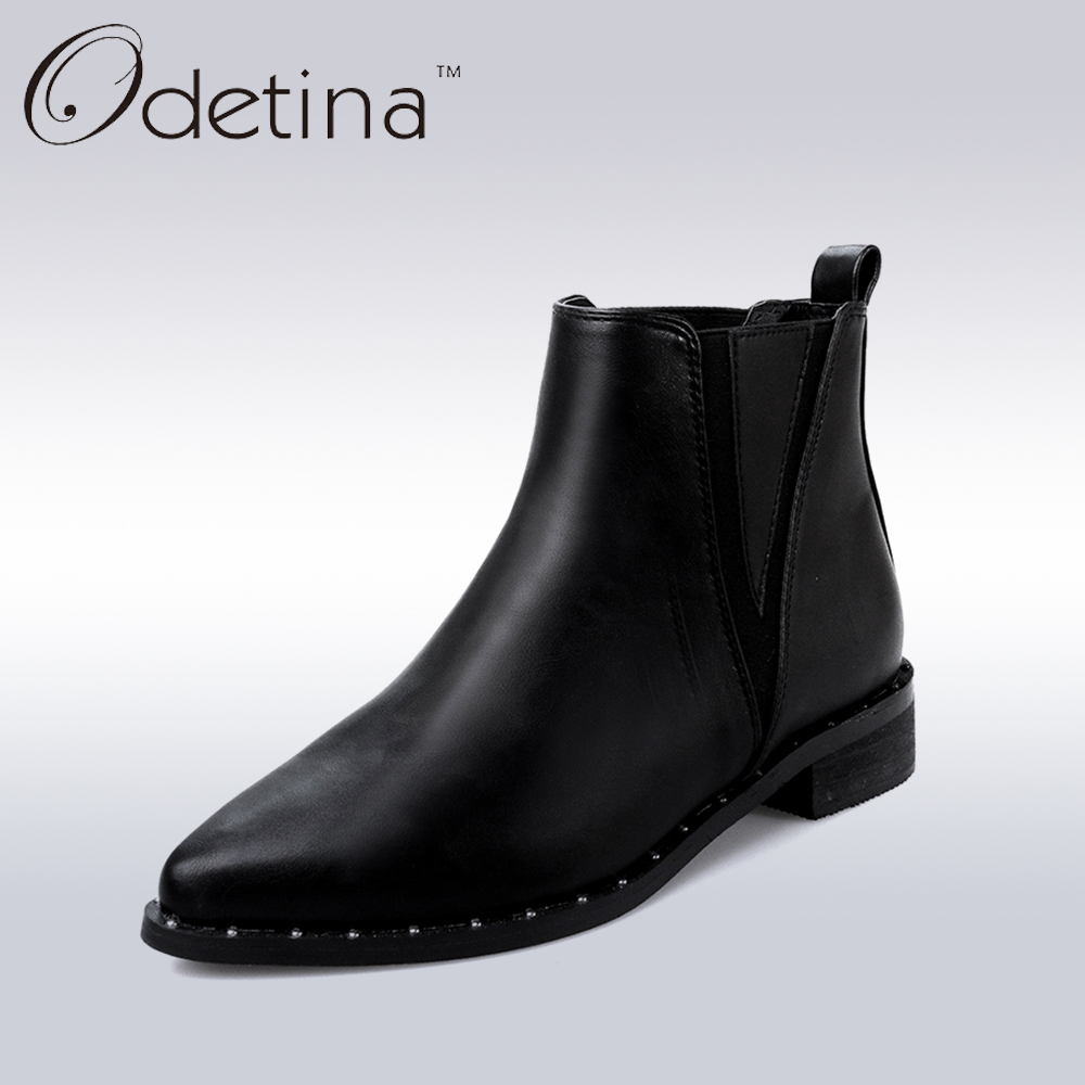 Odetina Women Pointed Toe Rivets Punk Chelsea Boots Fashion Low Heel Black Ankle Boots Large Size Women Spring Shoes odetina fashion women pointed toe rivets loafers 2017 spring
