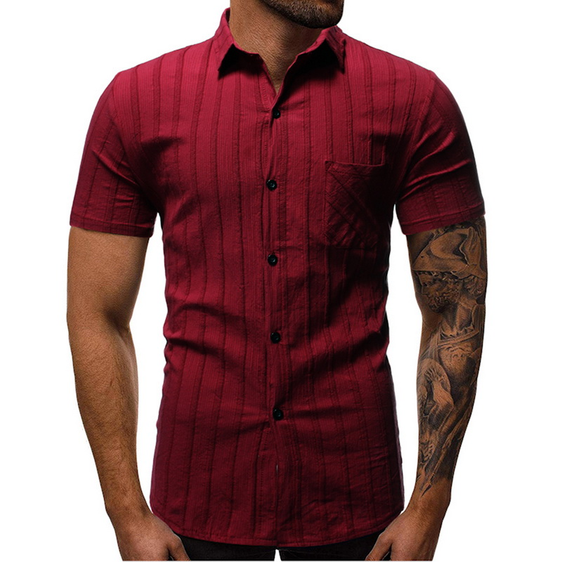 Litthing Mens Striped Short Sleeve Dress Shirts High Quality Cotton Linen Breathable Soft Classic Shirt Chinese Retro Vintage