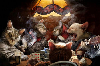 Tableau toile style chat poker