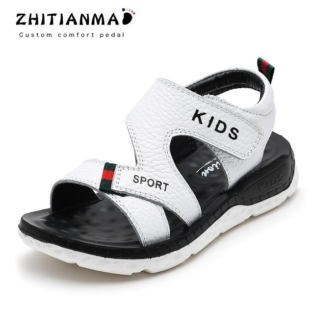 2019 Big Boys Beach Genuine Leather Sandals Kids Summer Shoes Children Non- Slip Shoes Boys Student Sport Shoes Flat With 19011