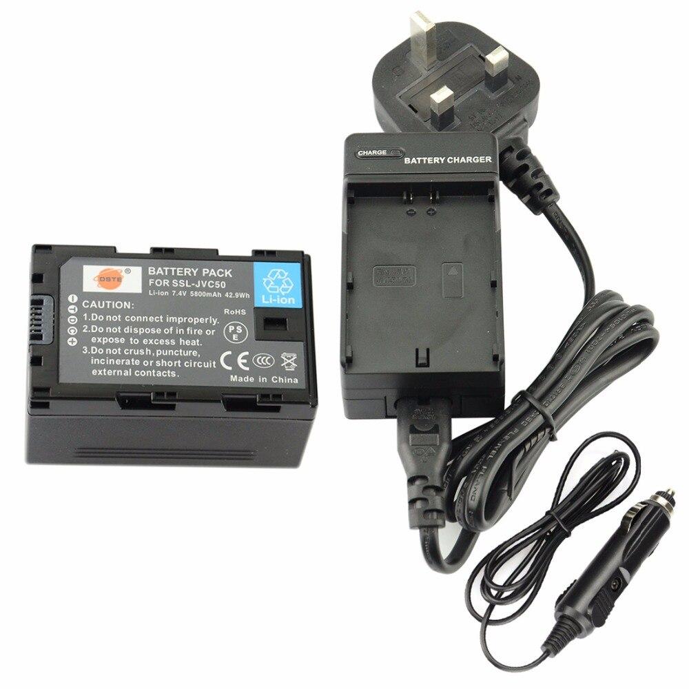 Batterie Rechargeable DSTE SSL-JVC50 + chargeur de voyage et de voiture pour caméra JVC HM600/650 GY LS300