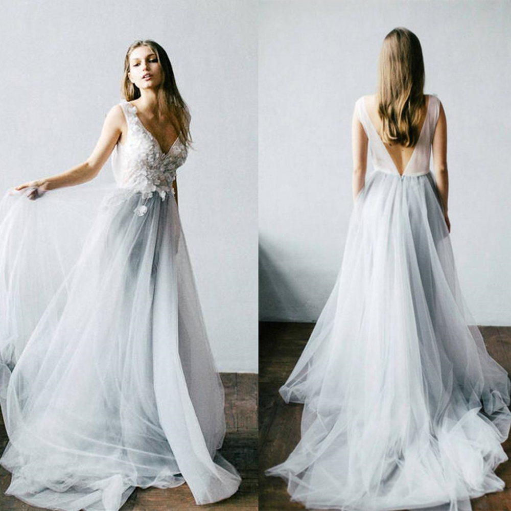 Gallery Bohemian Wedding Dresses: Dusty Blue Floral Wedding Dress With Tulle Skirt V Neck