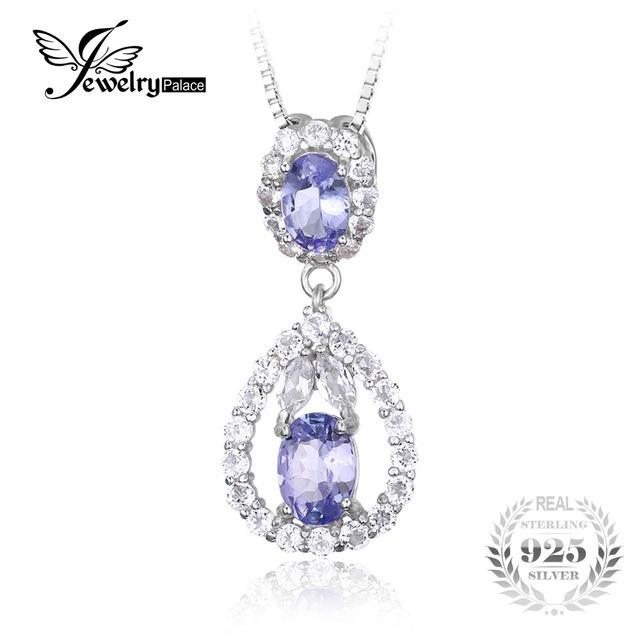 Jewelrypalace 2.2ct tanzanite natural topázio branco pingente para mulheres elegantes real não inclui uma cadeia de 925 jóias de prata esterlina
