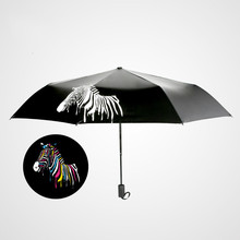 Folding umbrella Flower UV protection Sun Three-folding Umbrella Creative Watercolor Zebra