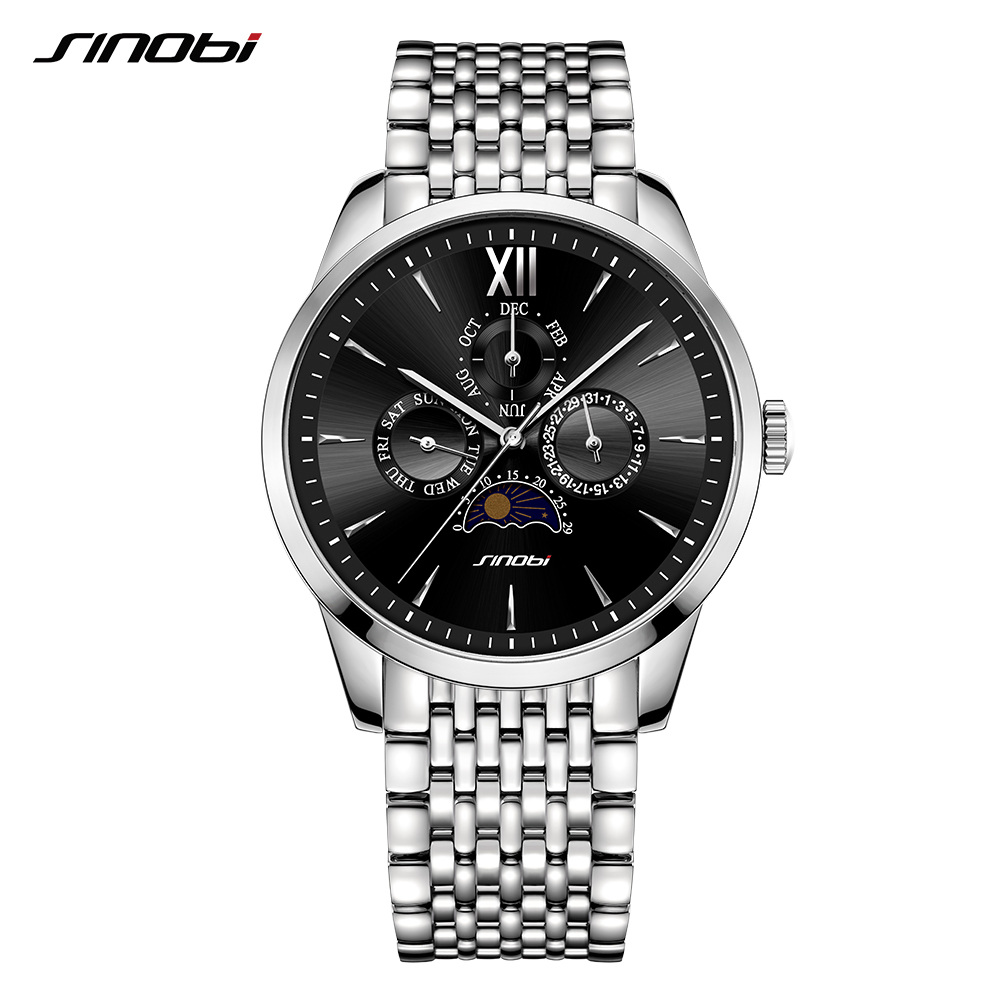 SINOBI Business Men Watch Full Steel Quartz Watch Men Relogio Masculino 2018 Sport Watches Top Brand Luxury Male Clock sinobi luxury brand new design men watch silver stainless steel mesh band quartz watches men simple slim business male clock
