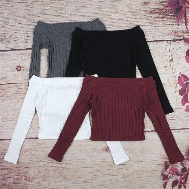 Autumn new 2018 off shoulder crop top t shirts hot sale long sleeve solid short t