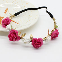 Newborn Rose Flower Garland Chic Wedding Flower Kids Headband Elastic Hairband Crown Wreath Headdress Tiara Hair Accessorie(China)