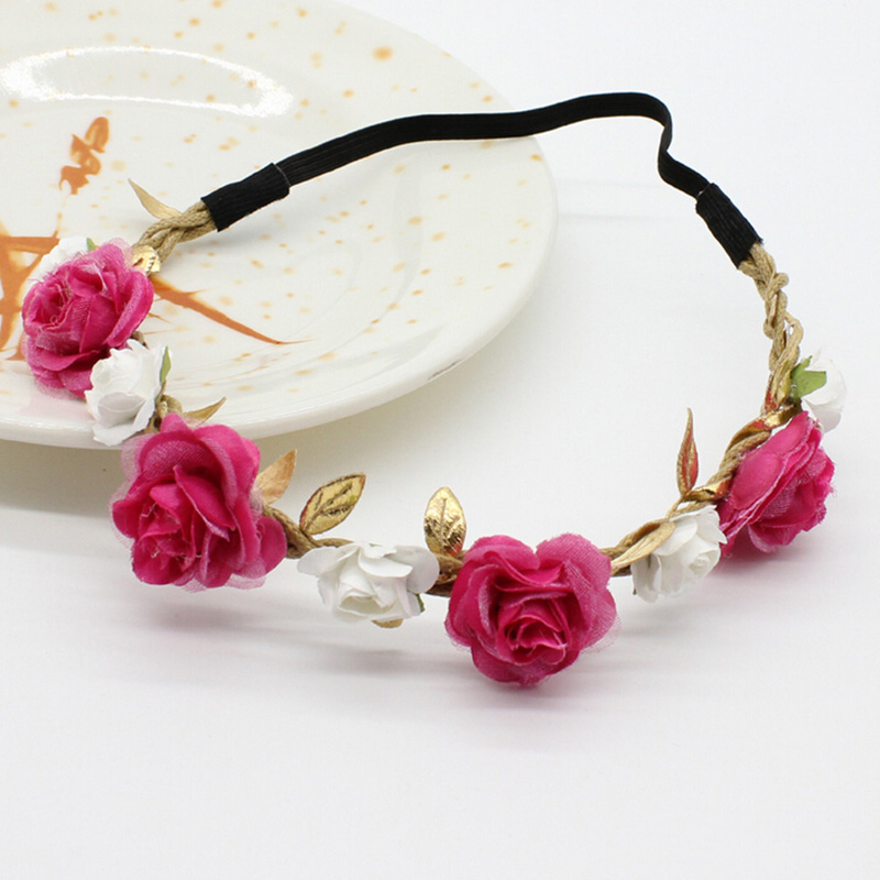 Newborn Rose Flower Garland Chic Wedding Flower Kids Headband Elastic Hairband Crown Wreath Headdress Tiara Hair Accessorie