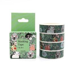 Box pakiet Kawaii koty taśma maskująca taśma Washi dekoracyjne biuro Scrapbooking klej naklejka do zrobienia w domu taśma z etykietami 10 m * 15mm