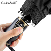 Brand Leather handle Automatic Umbrella Rain Women Auto Luxury Big Windproof Fold Car Umbrellas Rain For Men Travel Golf Parasol