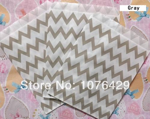 25 pcs gris chevron ray traiter craft sacs favor - Colorant Gris Alimentaire