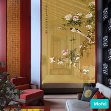 Кофейная занавеска с птицей на ветках, китайский стиль, художественный узор, традиционная настенная подвесная дверная занавеска для окна гостиной