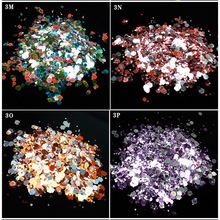 50g Nail mix glitter powder 18 Styles mixed sequins Purple,Pink,Silver,Green,Blue/0.2-1mm Tiny Sequins /50g