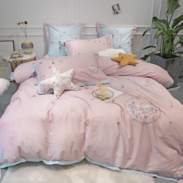 Girls gift 60S Egyptian cotton Luxury embroidery Bedding Set 4/6Pcs King Queen Size Bed Sheet set Duvet cover Pillowcases