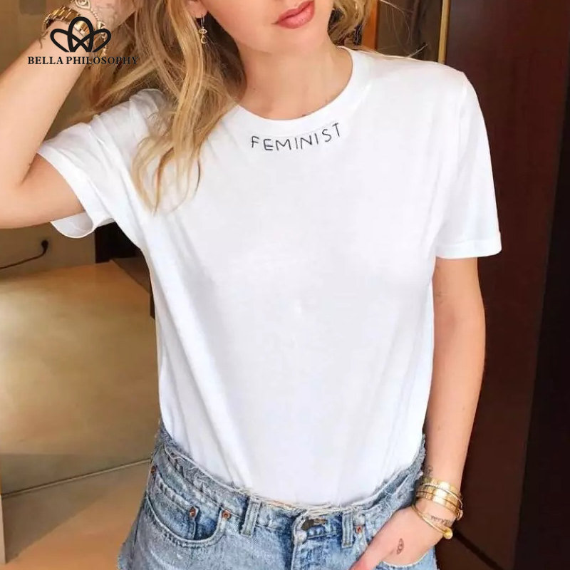 f723dc4727a Bella Philosophy 2018 women summer feminist letter print slogan cotton tee  T shirt-in T-Shirts from Women's Clothing on Aliexpress.com | Alibaba Group
