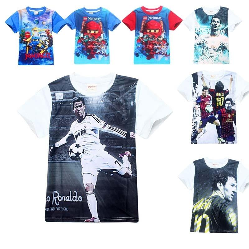 Summer Football T Shirt Ninjago Ronaldo Messi Teens Boys Short Sleeve Baby Costume White ...
