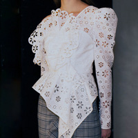 Sexy Off Shoulder Asymmetrical Womens Shirt Blouse Long Sleeve Hollow Out White Lace Tops Female Elegant Summer