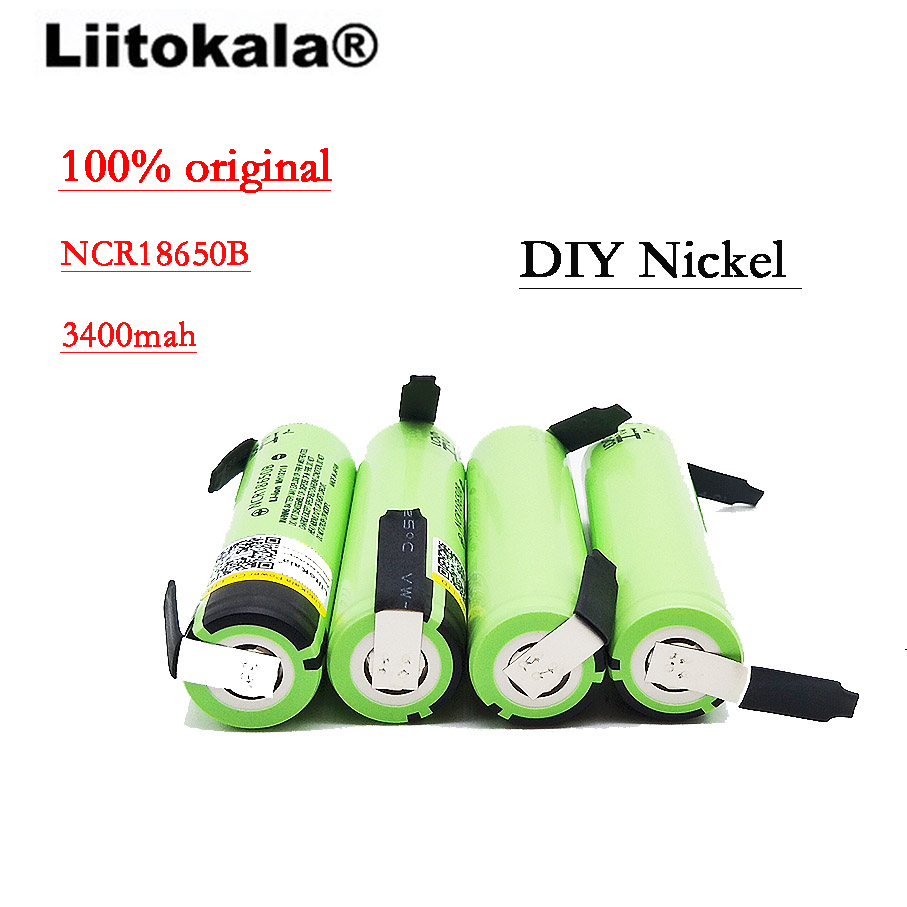2018 50 unités/lot Liitokala 100% new Original NCR18650B 3.7 V 3400 mAh 18650 rechargeable au lithium batterie DIY nickel batterie