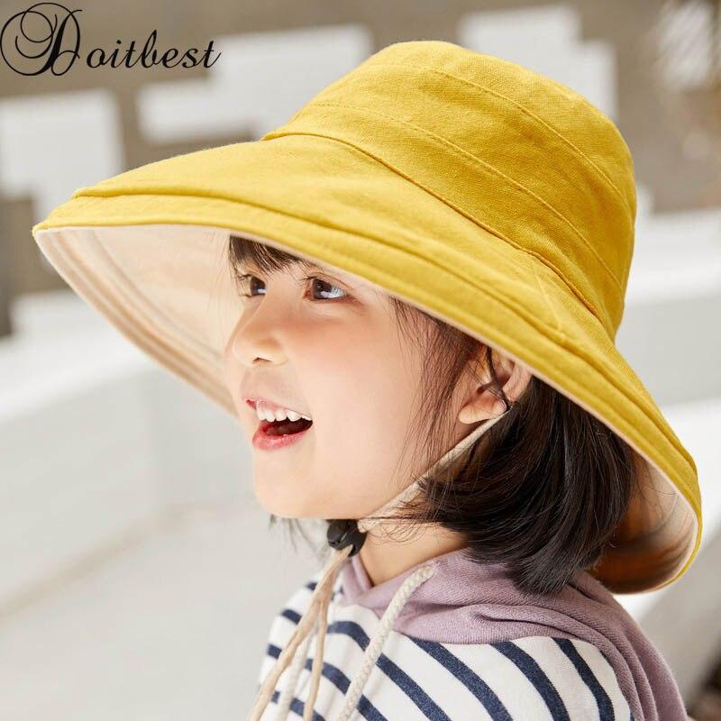 100% QualitäT Doitbest Sommer Junge Mädchen Eimer Angeln Hüte Sonnenschutz Kappe Klapp Großen Krempe Frühjahr Solide Kinder Kind Hut Fischer äSthetisches Aussehen