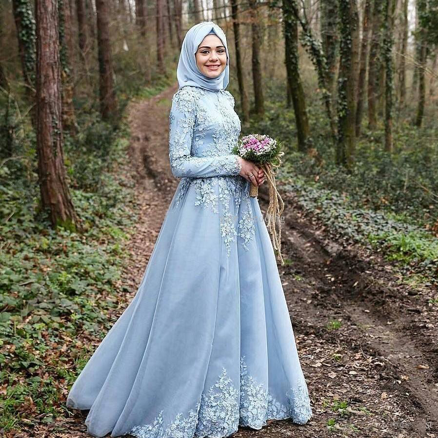 2016 Light Sky Blue Islamic Wedding Dresses Cheap Muslim Long ...