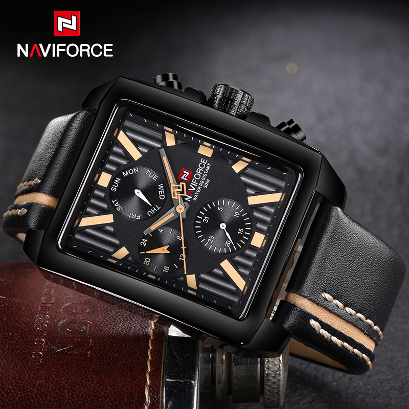 Top Brand NAVIFORCE Mens Sport Watches Leather Casual Watch Men Waterproof Leather Quartz Wristwatch Man Clock Relogio Masculino цена и фото