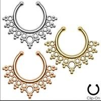 2015 nieuwe Nep Neus Ring 12 stks/partij Non-Piercing Lacey Septum Hanger Clip-Op Nep Neus Ring Body sieraden