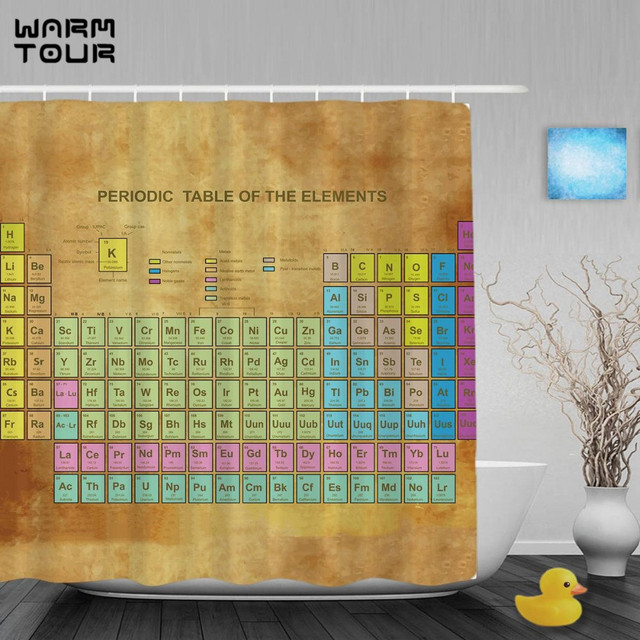 WARM TOUR Periodic Table Of Elements Kid Shower Cutains Chemistry Amateur Children Bathroom Curtains Waterproof Fabric