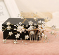 Bride Hair Accessories Gold Plated handmade Wedding Hair Jewelry Party Crystal Bridal peigne cheveux Hair Comb Pearl Tiara