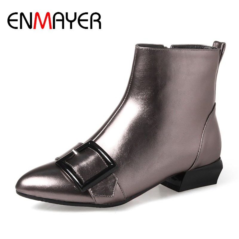 ENMAYER Ankle Boots Woman Square Heels Flats Shoes 2017 Fashion Solid Pointed Toe Warm Plush Ladies Winter Shoes Plus Size 34-43 enmayer winter woman boots pointed toe lace up shoes winter warm boots black red 2017 new fashion shoes ankle boots big size