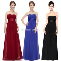 Strapless Ruched Bust Black Chiffon Long Evening Dresses 9955 2017 New Arrival vestido de festa