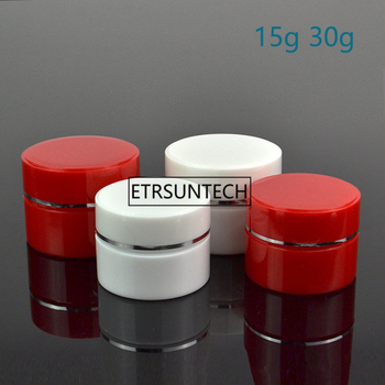 15g 30g red and white cosmetic jar , silver side plastic cream jar Empty Skin Care Cream Container F20171031