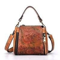 Vintage Small Natural Skin Women Cross Body Tote Handbag Luxury Flower Female Messenger Shoulder Top Handle