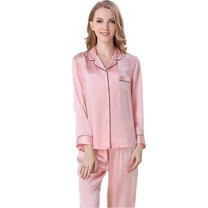 Classic Silk Satin Women Pajama Sets Notch Collar Long Sleeves Top with Full-Length Pant Pajamas Pyjama sp0062