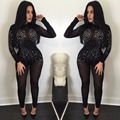 2016 Rompers Womens Jumpsuit Casual One Piece Long Sleeve mesh sexy Jumpsuit Autumn Winter Black sequins Overalls Bodysuit