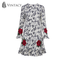 Vintacy Women Petal Long Sleeve Dress Mesh Embroidery Floral Autumn Dresses Elegant Slim Pleated Office Lady