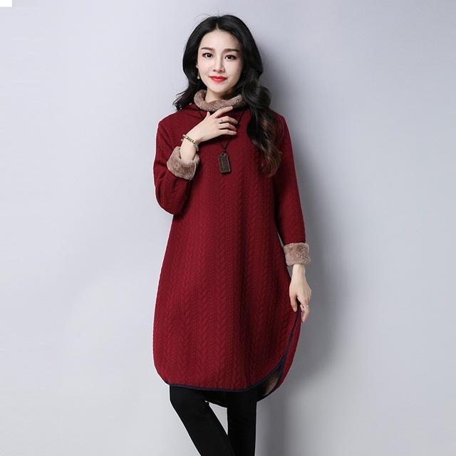 Autumn Winter #Dress Women #Long Sleeve Vintage Thick Robe #fashion #boygrl