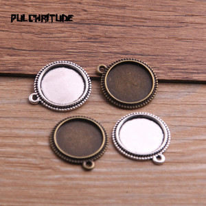 10pcs 16/20/25mm Inner Size Two Color Metal Alloy Simple Round Cabochon Pendant Setting Jewelry Findings P6780