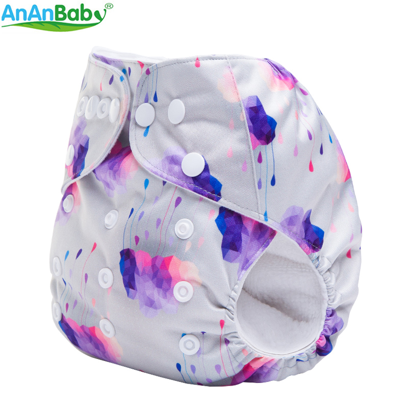 2018 Ananbaby Reusable Washable Double Row Snaps One Size Digital Prints Pocket Nappy For Girls