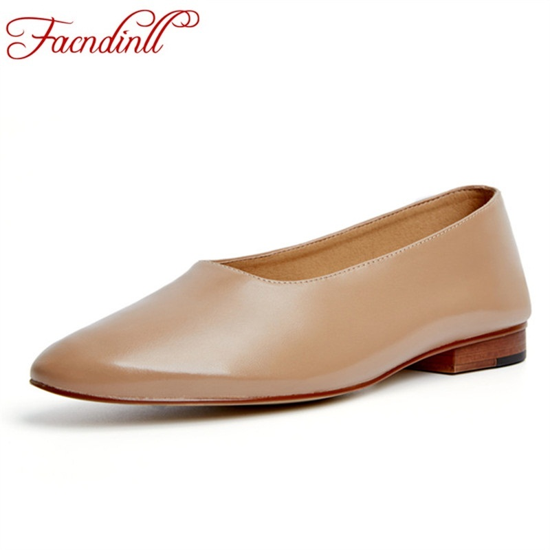 FACNDINLL soft genuine leather women flats casual dress shoes spring autumn shoes black apricot grandmother oxfords loafers 44 facndinll genuine leather sandals for