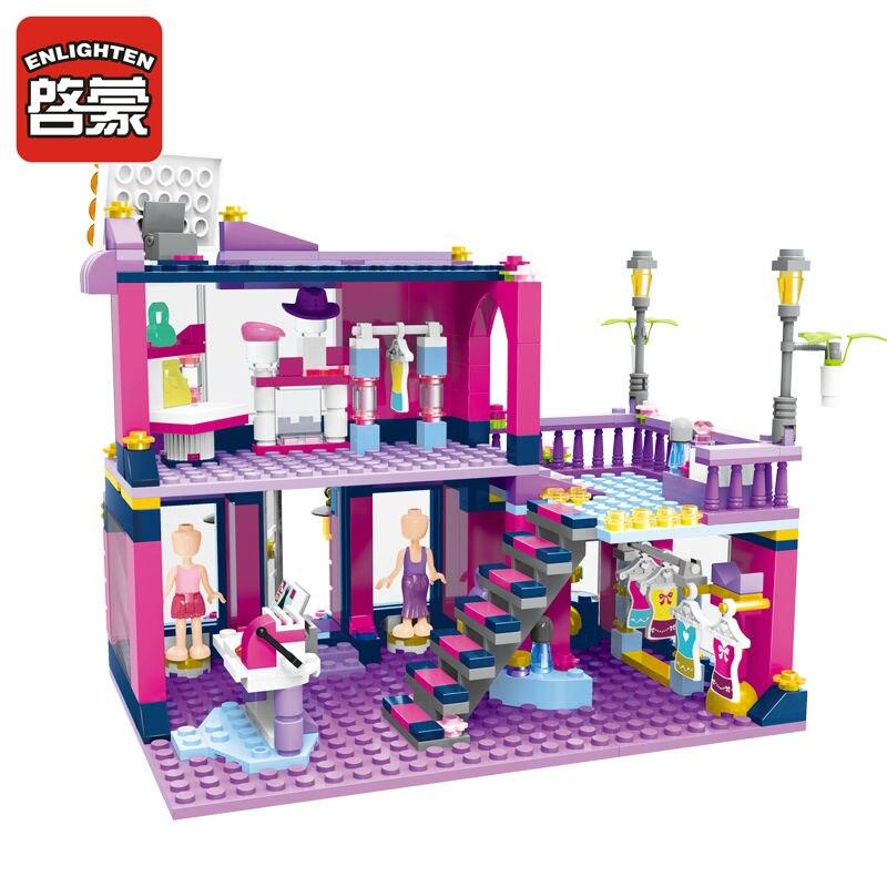 ENLIGHTEN City Girls Fashion shop house Building Blocks Sets Bricks Model Compatible Friends Kids Gift Toys