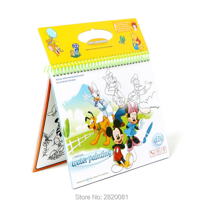Anime Cartoon figure colorful pictures magical water painting book reusable,children's educational learning graffiti book toy