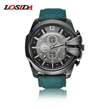2017 Losida Men Black Big Watch Sports Watches Wrist Quartz Outdoor Army Shock Resistant Clock Male Leather Strap Business Watch