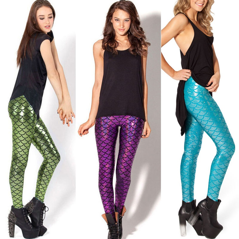 Womens 3D Mermaid Fish Scale Print Yoga Leggings Slim Hips Trousers Pants Outfit