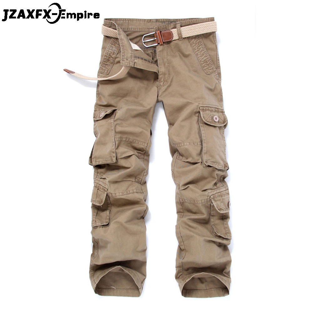 New Men Cargo Pants Army Military Camouflage Overalls Bags High Quality 100% Cotton Multi Pocket Male Work Trousers