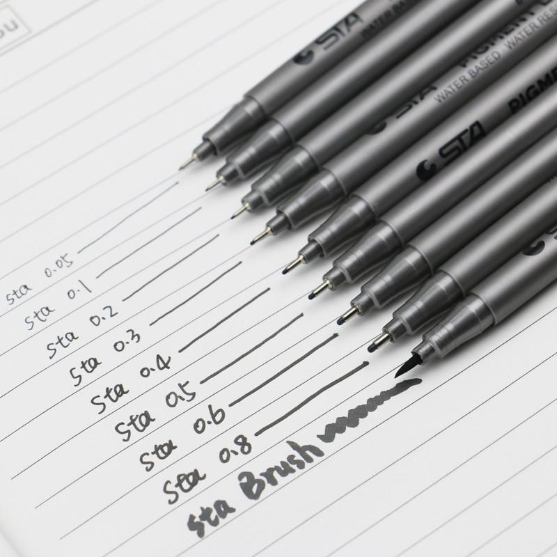 Drawing Needle Pen Waterproof Fade Proof Micron PenTip Fine Liner Black Sketch Water Marker Pen For Manga