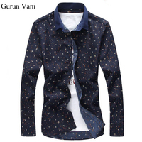 2017 New Men Dress Shirts Fashion Brand Men Clothes Slim Fit Print Shirts Men Formal Long