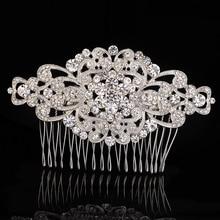 2016 Shiny Top Quality Wedding Bridals Crystal Flower Hair Combs Rhinestone Tiara Headpiece Women Wedding Accessories Jewelry