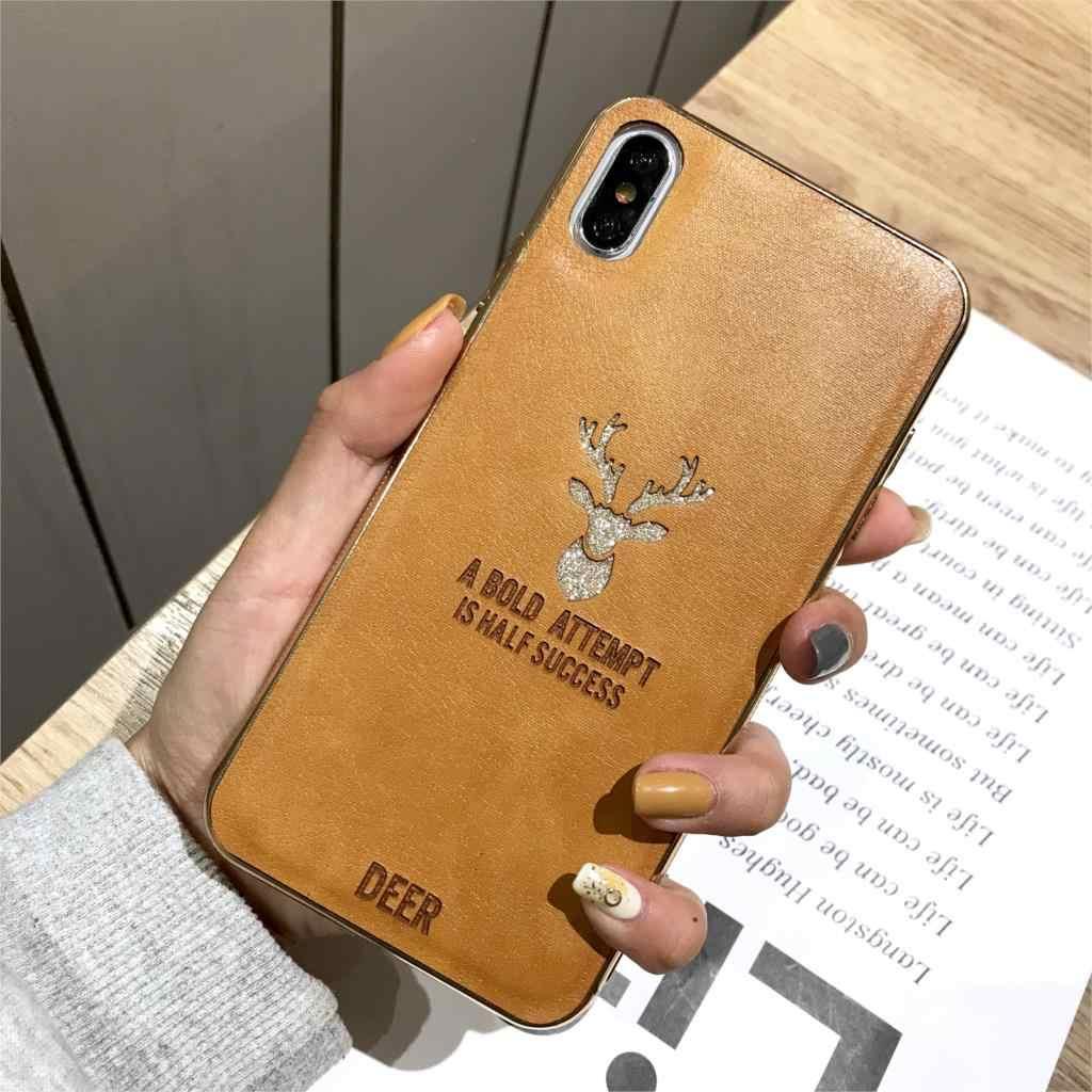 Роскошный кожаный чехол с оленем для IPhone X 6s 7 8 Plus XR XS максимальный чехол ТПУ блестки 2 в 1 чехол для huawei Nova 4 3 Honor Play 8X10